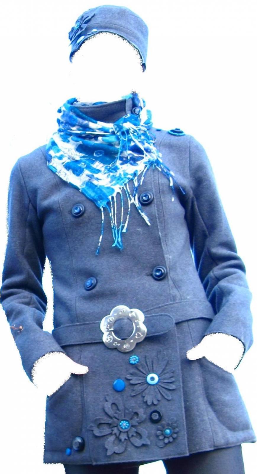 Цветок из драпа на пальто своими руками